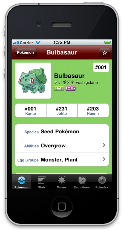 The main profile window for a Pokémon in iPokédex